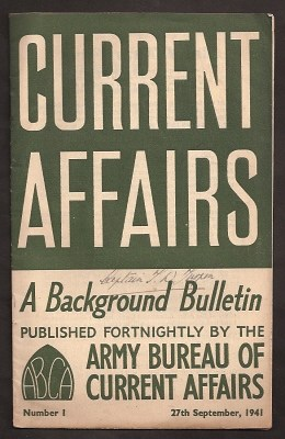 WHITNEY, MAJOR DWIGHT, ET. AL., - CURRENT AFFAIRS : issue 1 : September 27th, 1941 : A Background Bulletin.
