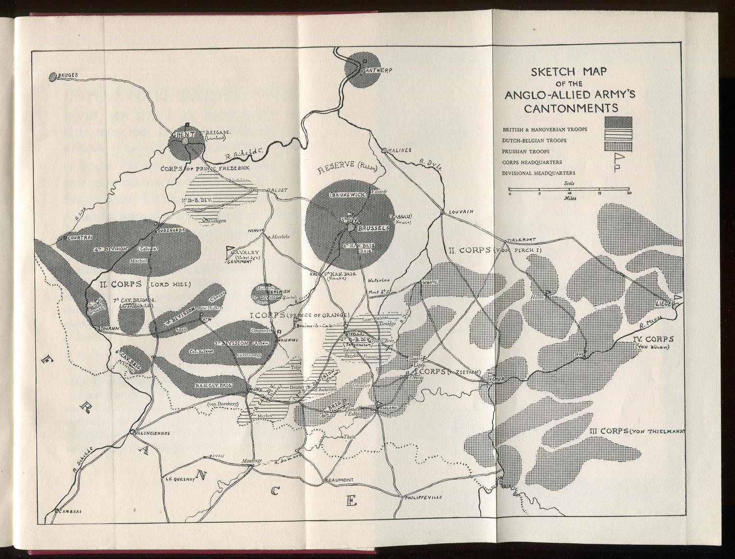 Folding map of Anglo-Allied Army's cantonments