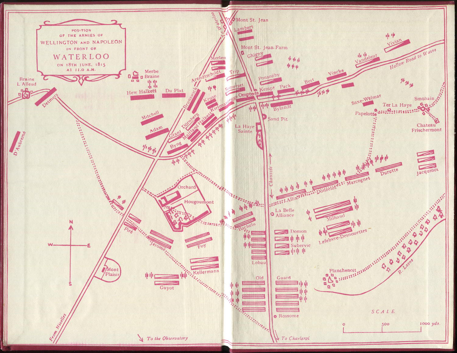 Endpaper map of Waterloo Battlefield